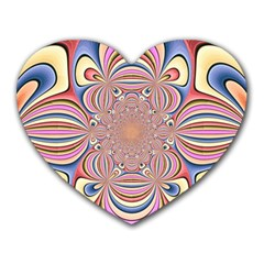 Pastel Shades Ornamental Flower Heart Mousepads