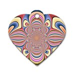 Pastel Shades Ornamental Flower Dog Tag Heart (Two Sides) Front