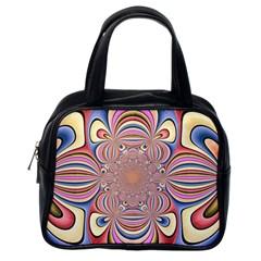 Pastel Shades Ornamental Flower Classic Handbags (one Side)