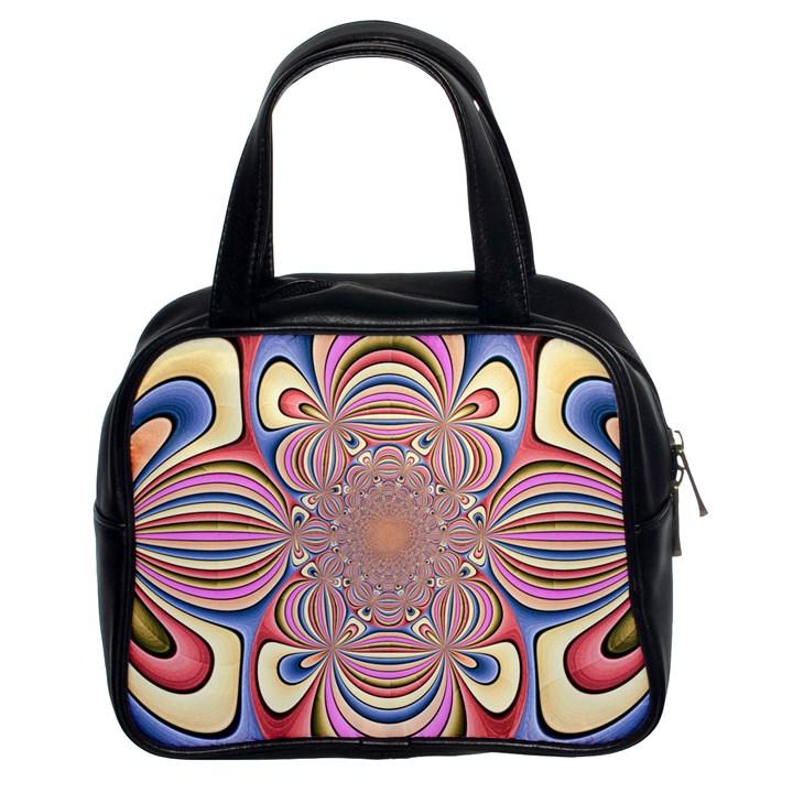 Pastel Shades Ornamental Flower Classic Handbags (2 Sides)