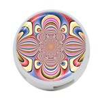 Pastel Shades Ornamental Flower 4-Port USB Hub (Two Sides)  Front