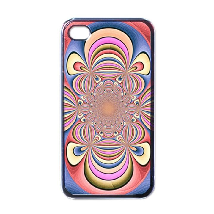 Pastel Shades Ornamental Flower Apple iPhone 4 Case (Black)