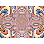 Pastel Shades Ornamental Flower Circle Bottom 3D Greeting Card (7x5) Back