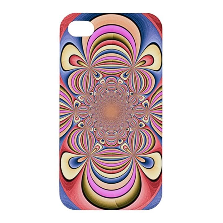 Pastel Shades Ornamental Flower Apple iPhone 4/4S Premium Hardshell Case