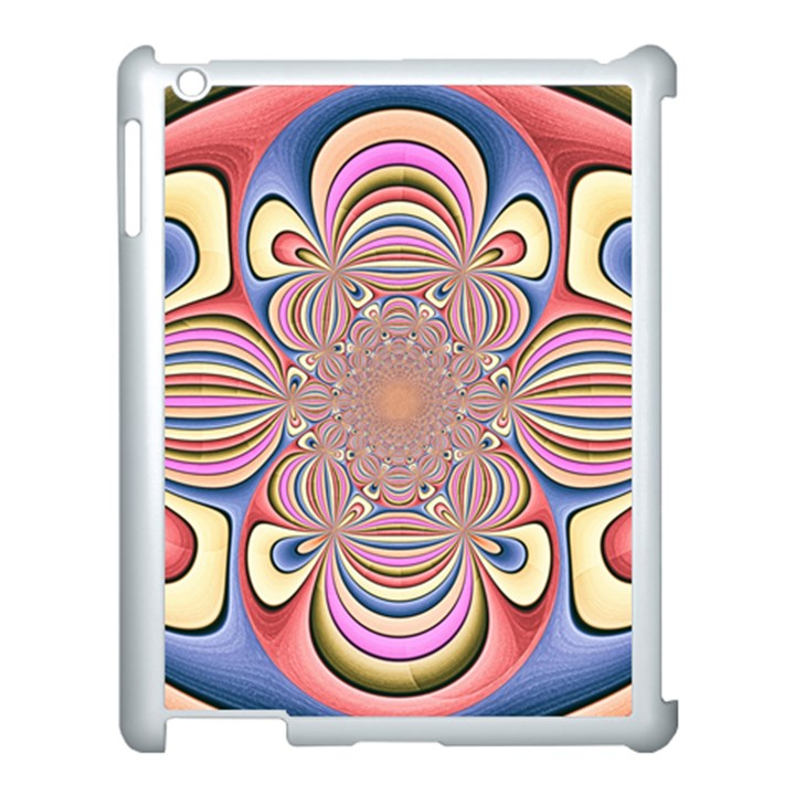 Pastel Shades Ornamental Flower Apple iPad 3/4 Case (White)
