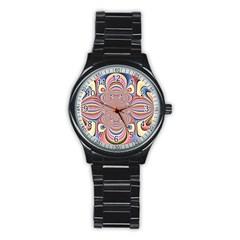 Pastel Shades Ornamental Flower Stainless Steel Round Watch by designworld65
