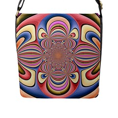 Pastel Shades Ornamental Flower Flap Messenger Bag (l)  by designworld65