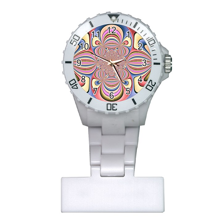 Pastel Shades Ornamental Flower Plastic Nurses Watch