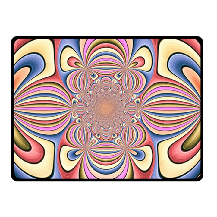 Pastel Shades Ornamental Flower Double Sided Fleece Blanket (Small)
