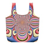 Pastel Shades Ornamental Flower Full Print Recycle Bags (L)  Back