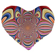 Pastel Shades Ornamental Flower Large 19  Premium Flano Heart Shape Cushions