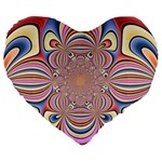 Pastel Shades Ornamental Flower Large 19  Premium Flano Heart Shape Cushions Front