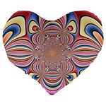 Pastel Shades Ornamental Flower Large 19  Premium Flano Heart Shape Cushions Back