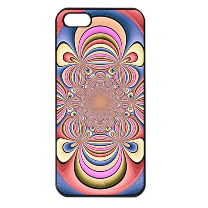 Pastel Shades Ornamental Flower Apple iPhone 5 Seamless Case (Black)
