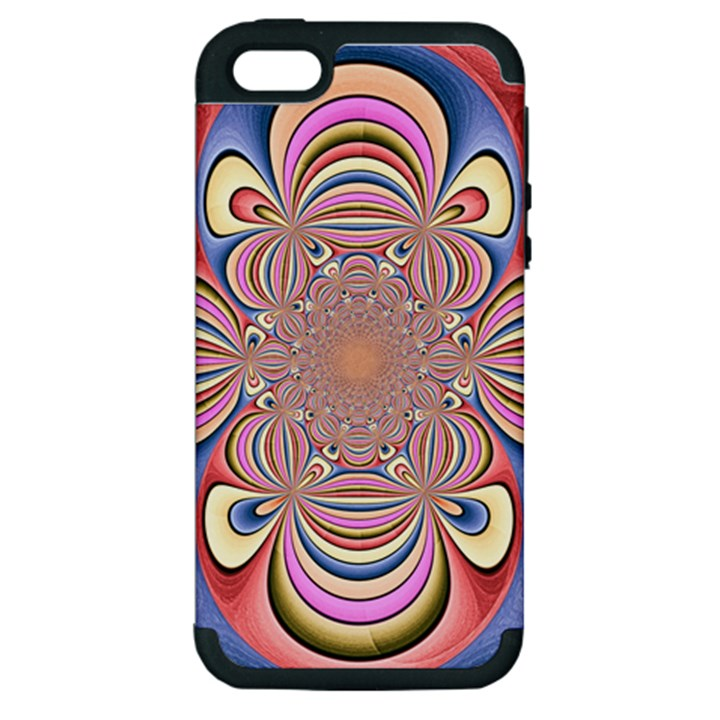 Pastel Shades Ornamental Flower Apple iPhone 5 Hardshell Case (PC+Silicone)