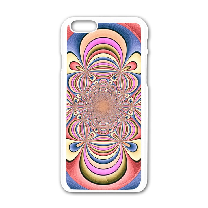 Pastel Shades Ornamental Flower Apple iPhone 6/6S White Enamel Case