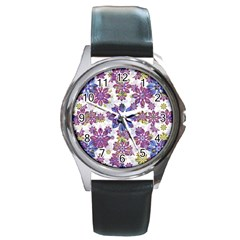 Stylized Floral Ornate Pattern Round Metal Watch