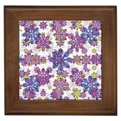 Stylized Floral Ornate Pattern Framed Tiles