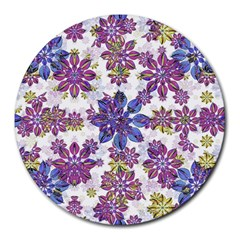 Stylized Floral Ornate Pattern Round Mousepads