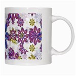 Stylized Floral Ornate Pattern White Mugs Right