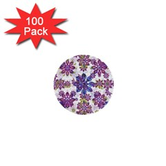Stylized Floral Ornate Pattern 1  Mini Buttons (100 Pack)