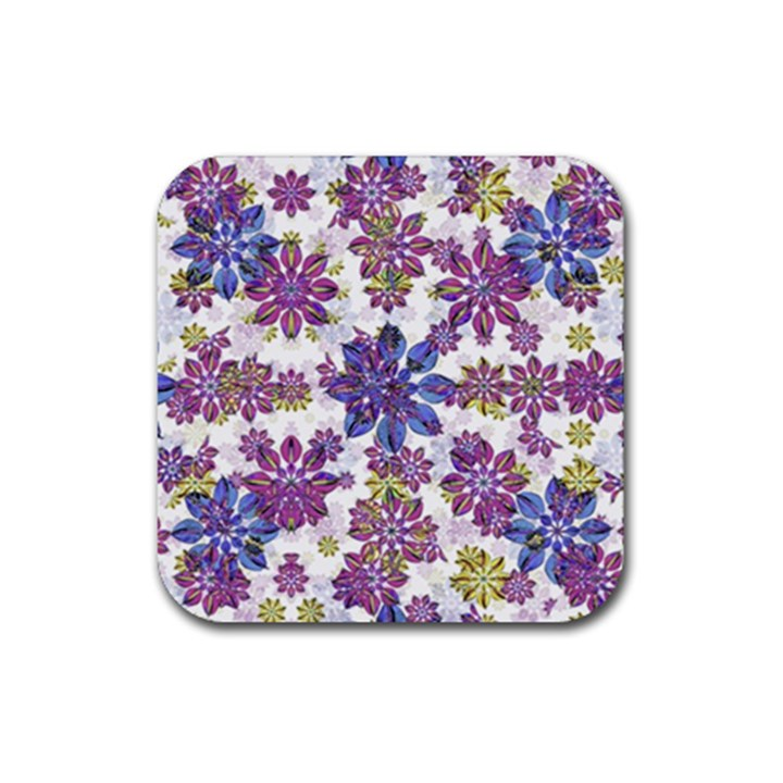 Stylized Floral Ornate Pattern Rubber Coaster (Square)
