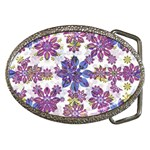 Stylized Floral Ornate Pattern Belt Buckles Front