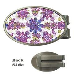 Stylized Floral Ornate Pattern Money Clips (oval)