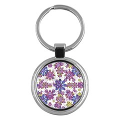 Stylized Floral Ornate Pattern Key Chains (round)