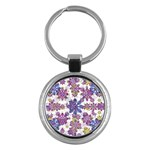 Stylized Floral Ornate Pattern Key Chains (Round)  Front