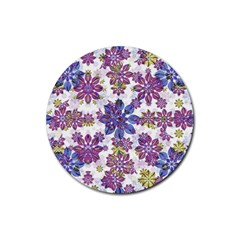 Stylized Floral Ornate Pattern Rubber Round Coaster (4 Pack)