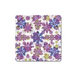 Stylized Floral Ornate Pattern Square Magnet Front