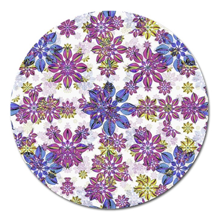 Stylized Floral Ornate Pattern Magnet 5  (Round)