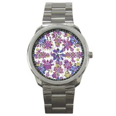 Stylized Floral Ornate Pattern Sport Metal Watch