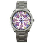 Stylized Floral Ornate Pattern Sport Metal Watch Front