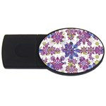 Stylized Floral Ornate Pattern USB Flash Drive Oval (4 GB)  Front