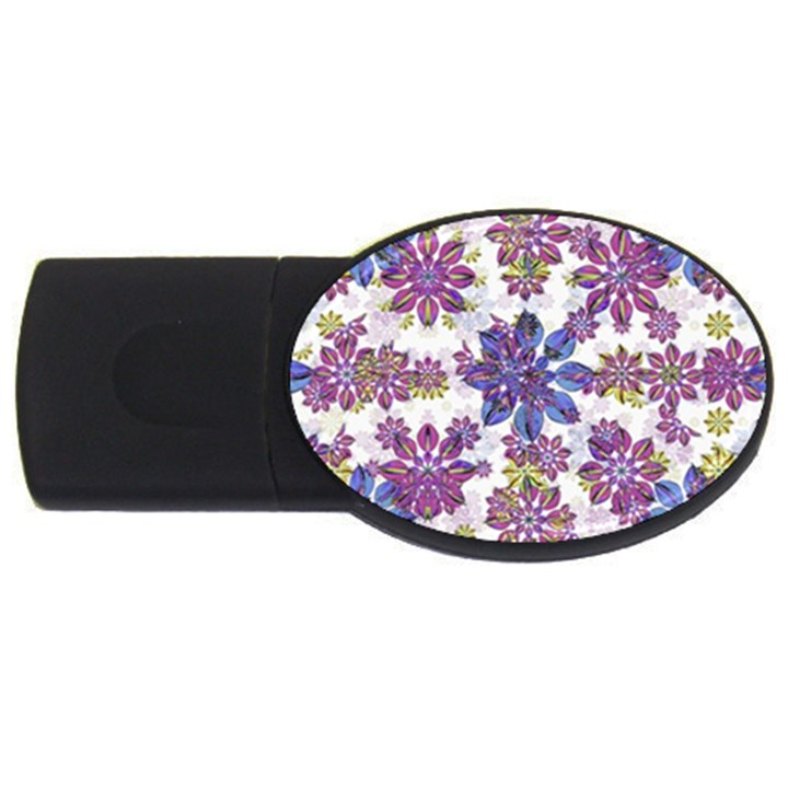 Stylized Floral Ornate Pattern USB Flash Drive Oval (4 GB)