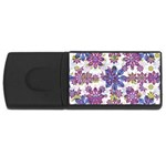 Stylized Floral Ornate Pattern USB Flash Drive Rectangular (4 GB)  Front