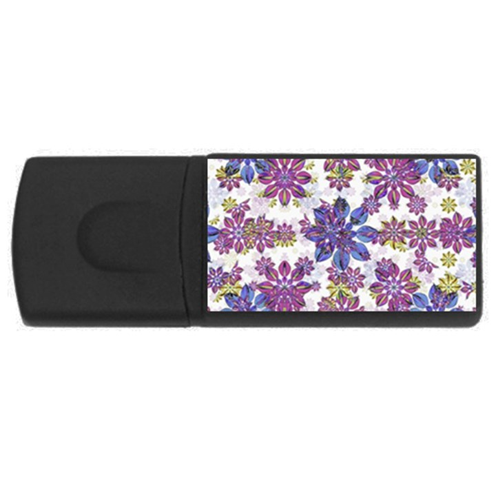 Stylized Floral Ornate Pattern USB Flash Drive Rectangular (4 GB)