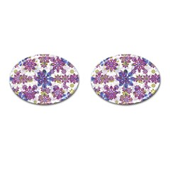 Stylized Floral Ornate Pattern Cufflinks (oval)