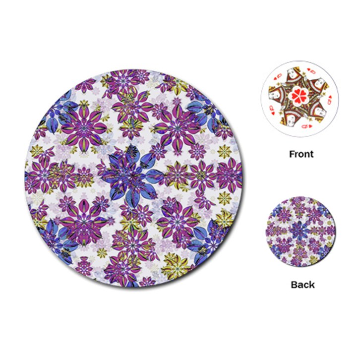 Stylized Floral Ornate Pattern Playing Cards (Round)