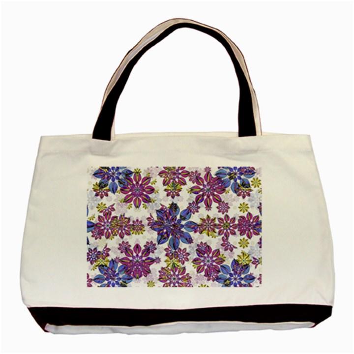 Stylized Floral Ornate Pattern Basic Tote Bag