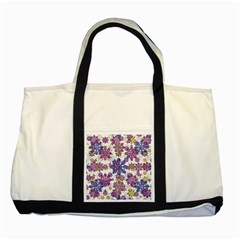 Stylized Floral Ornate Pattern Two Tone Tote Bag