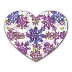 Stylized Floral Ornate Pattern Heart Mousepads