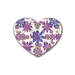 Stylized Floral Ornate Pattern Heart Coaster (4 pack)  Front