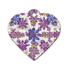 Stylized Floral Ornate Pattern Dog Tag Heart (one Side)