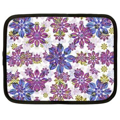 Stylized Floral Ornate Pattern Netbook Case (large) by dflcprints