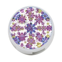 Stylized Floral Ornate Pattern 4 Port Usb Hub (two Sides)