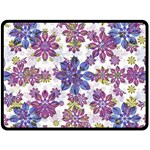 Stylized Floral Ornate Pattern Fleece Blanket (Large)  80 x60 Blanket Front