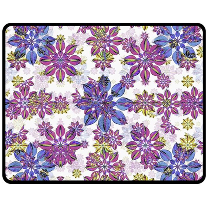 Stylized Floral Ornate Pattern Fleece Blanket (Medium)